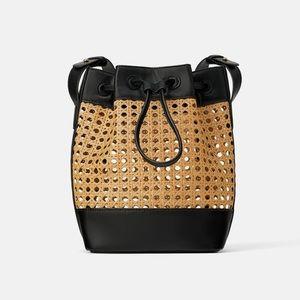 ZARA Woven Bucket Shoulder Bag